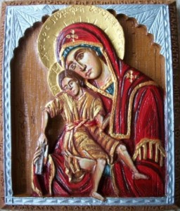 Axion Esti Virgin Mary & Child Hand Painted Icon
