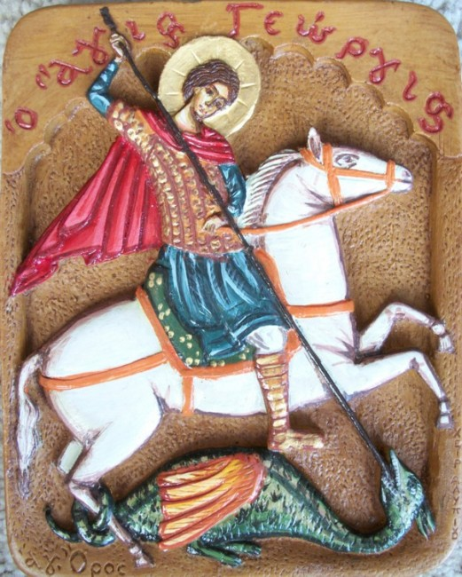 Hand Painted Icon Saint George Killing the Dragon