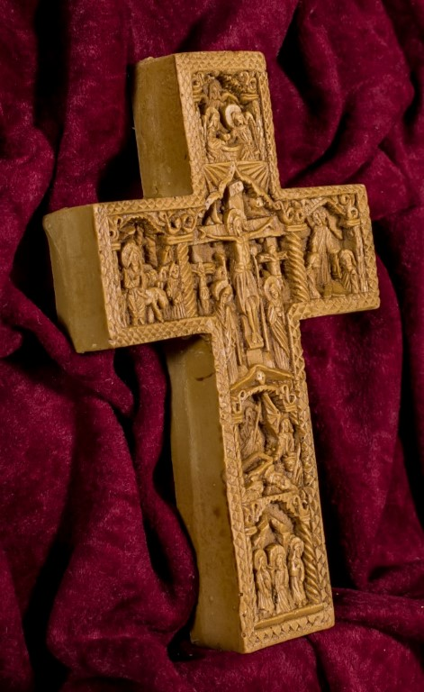 Cross with details from Christ's Passion